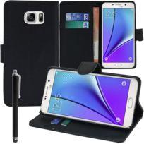 Vcomp - Housse Coque Etui portefeuille Support Video Livre rabat cuir Pu pour Samsung Galaxy Note5 Sm-n920T/ Note 5 Duos Dual Sim, / Note5 CDMA, N920V N920P N920R N920A + stylet - Noir