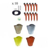 Iriso - Kit 10 Goutteurs avec supports + 1 Réserve d'eau 12L , Couleur Orange