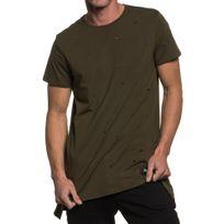 Sixth June - T-shirt homme troué asymetrique et oversize kaki