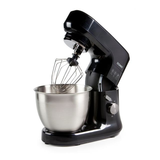 Domo Robot de cuisine design noir - Mouvement planétaire - Bol inox brossé 4,5 Litres