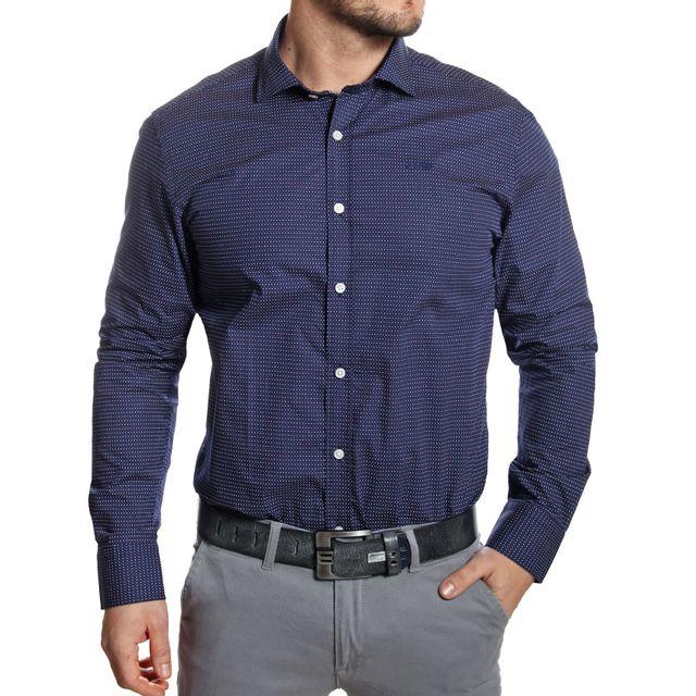 Armani - Jeans - Chemise slim fit imprimé pois bleu marine - pas cher Achat    Vente Chemise homme - RueDuCommerce a30261e66b