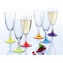 Luminarc - Flûte à champagne verre 14.5cl Coloré - Set de 6 Crazy Colors
