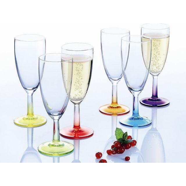 0aeb6577c7c09c Luminarc - Flà»te à champagne verre 14.5cl Coloré - Set de 6 Crazy ...
