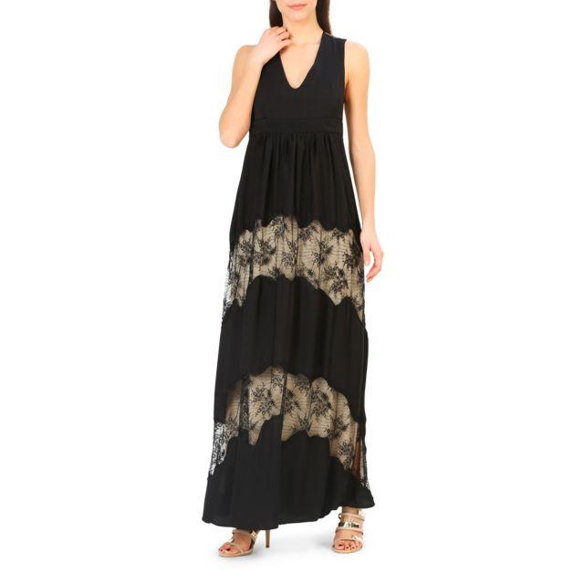 ca5ba2fa37fa Buzzao - Robe longue noir avec décolleté incrustation dentelle - Annarita N