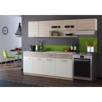 Baltic Meubles - Cuisine Topaze 2m40 / 6 meubles. En 4 coloris: noir chiné/érable/noyer ou chêne cendré