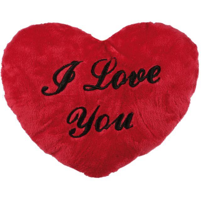 Touslescadeaux   Coussin en forme de coeur avec écrit I love you