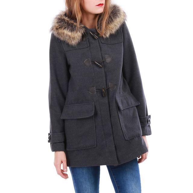 LAMODEUSE - Manteau gris style duffle-coat avec capuche fourrure ... a90ffeb4601