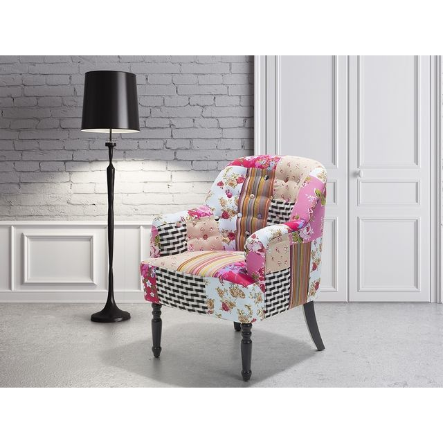 Beliani Fauteuil patchwork - fauteuil en tissu multicolore - Mandal