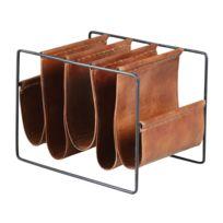 AUBRY GASPARD - Porte-revues 5 compartiments en métal et cuir