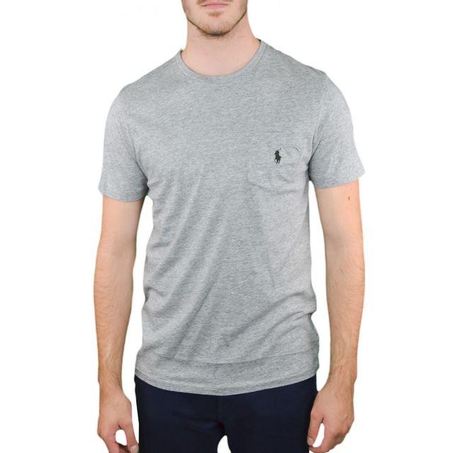 Ralph Lauren - T-shirt col rond gris pour homme - pas cher Achat   Vente  Tee shirt homme - RueDuCommerce de69acd9c6e8