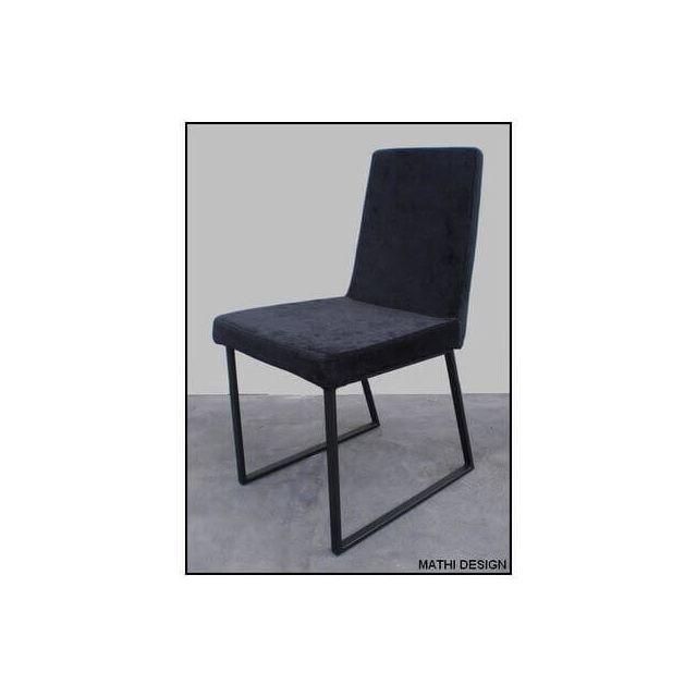 Mathi Design Styline - Chaise design de repas velours pieds acier noirs