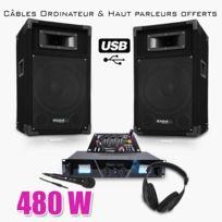 Ibiza sound - Pack Sono Dj300 Usb Matrix Ampli 2 x 240W + Hp