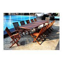 Rocambolesk - Magnifique salon de jardin teck massif 'huilé' 12/14 pers chaises&fauteuils + table rectangle 300cm