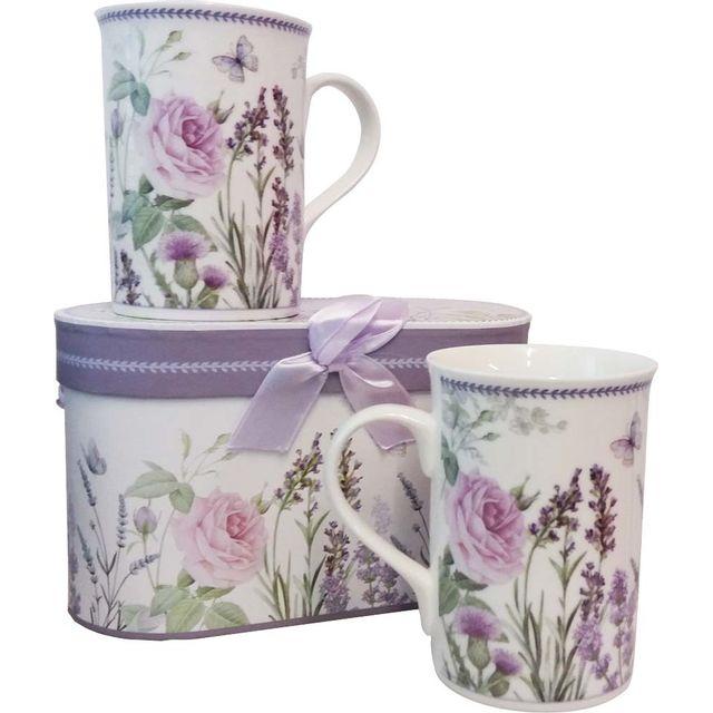 ANTIC LINE CREATIONS Coffret cadeau 2 mugs Lavande
