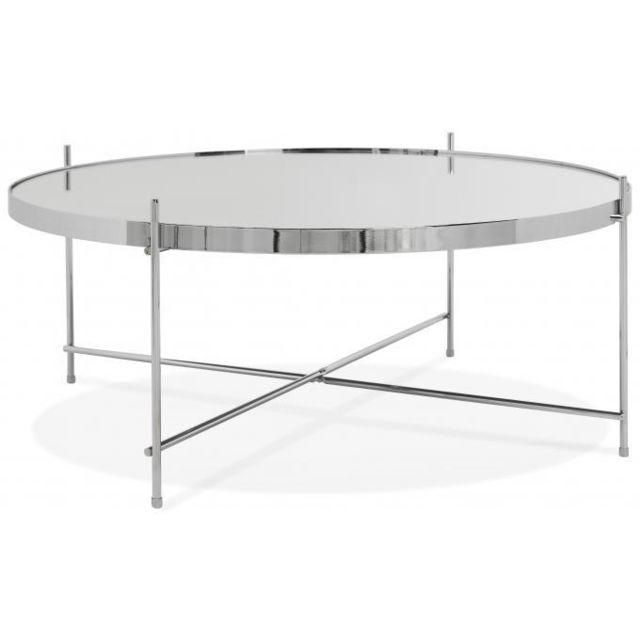 Declikdeco Table Basse Ronde Grande en Verre Chromé et Piétement en Métal Wally