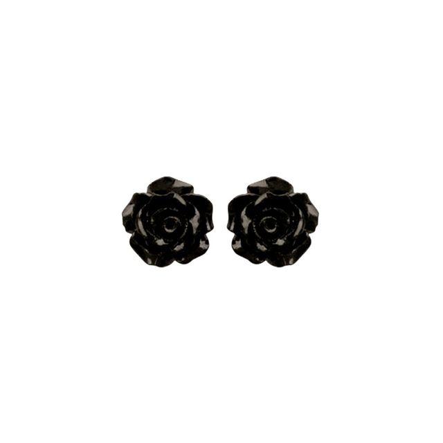 Acheter Des Roses Noires no name - boucles d oreilles clous argent 925 roses noires 10mm