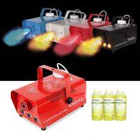 Ibiza Light - Mini machine à fumée rouge 400W à Leds 3X3W + 3L de liquide à fumée