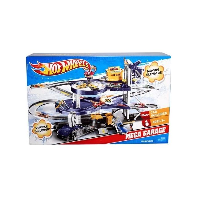 Avec Voiture Piste Miniatures Mattel Inclus Garage Une Mega Vehicule iuZOXTkP