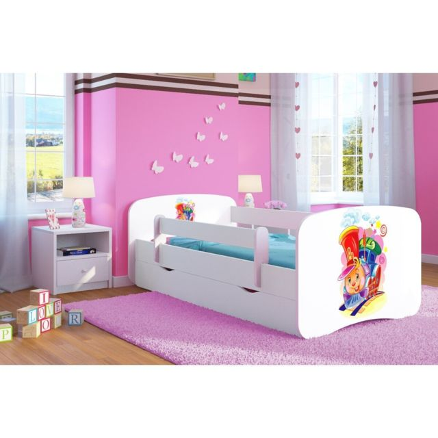 carellia lit enfant ciuchcia 70 cm x 140 cm avec barriere de securite sommier tiroirs. Black Bedroom Furniture Sets. Home Design Ideas