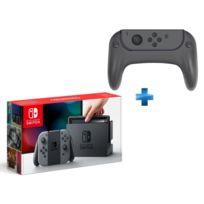 NINTENDO - Console Switch avec une paire de Joy-Con Gris + Ensemble de 2 grips pour joystick et 2 poignées pour les joy-con de la Switch
