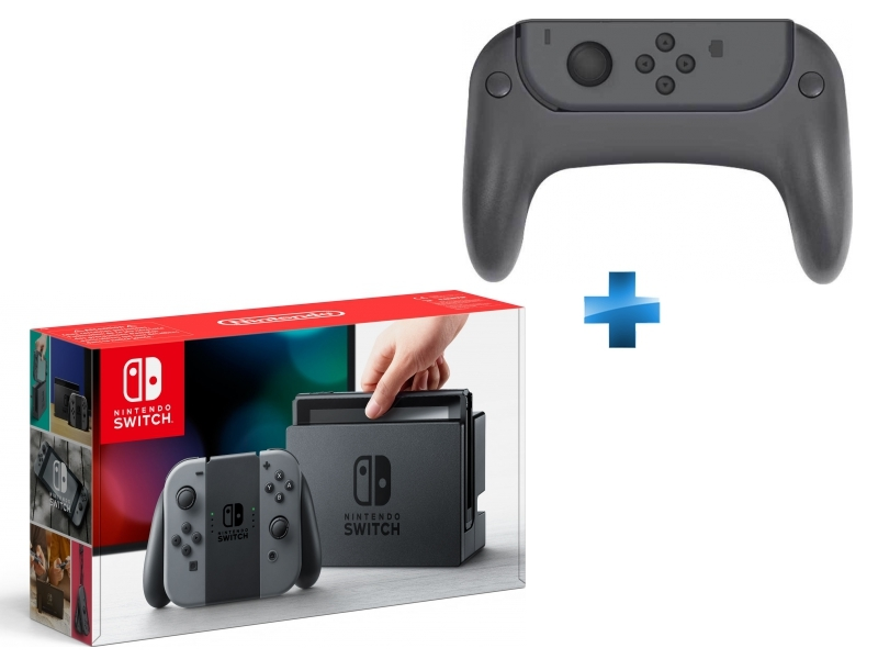 Console Switch avec une paire de Joy-Con Gris + Ensemble de 2 grips pour joystick et 2 poignées pour les joy-con de la Switch