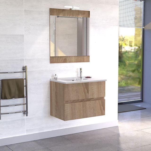 creazur meuble salle de bain simple vasque rosaly 80 cambrian oak coloris fa ade pas cher. Black Bedroom Furniture Sets. Home Design Ideas
