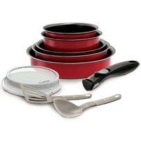 Battrinox - Ideo Set de poêles et casseroles avec poignée amovible Set 10 Pièces Rouge Tous feux dont induction