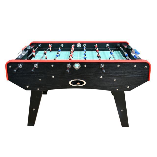 Play4FUN Babyfoot Deluxe type Bistrot - 151 x 77 x 91 cm - Table de Baby-foot avec barres téléscopiques, Couleur Bois Noir et Bal