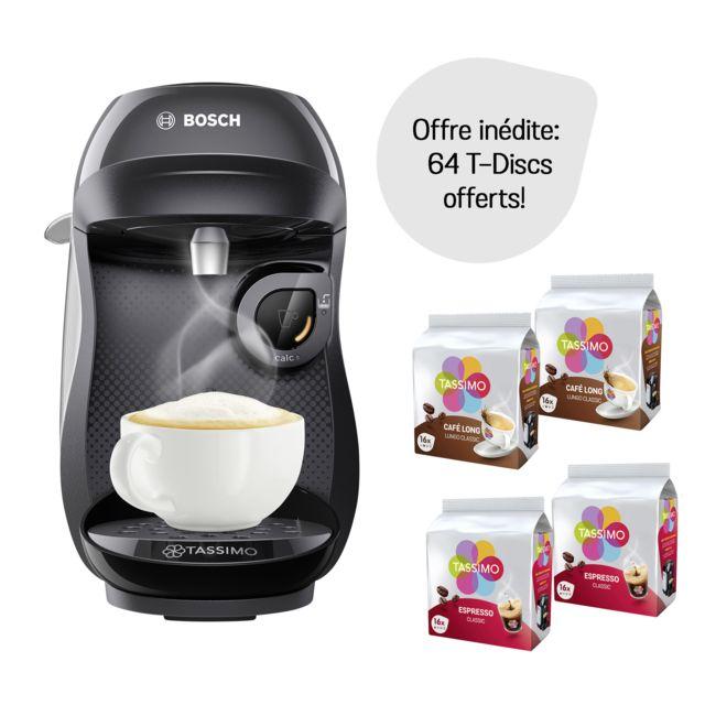 Bosch Pack Cafetière à dosettes Tassimo Happy + 64 dosettes offertes - TAS1002C - Noir