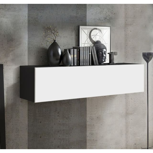 Design Ameublement Armoire mural modèle Krista H-120 120x30cm, noir et blanc