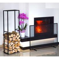 Farm-mdlt - Ensemble range-bûches 120x40x20 cm et écran de cheminée rectangulaire 100x72x15 cm en acier noir