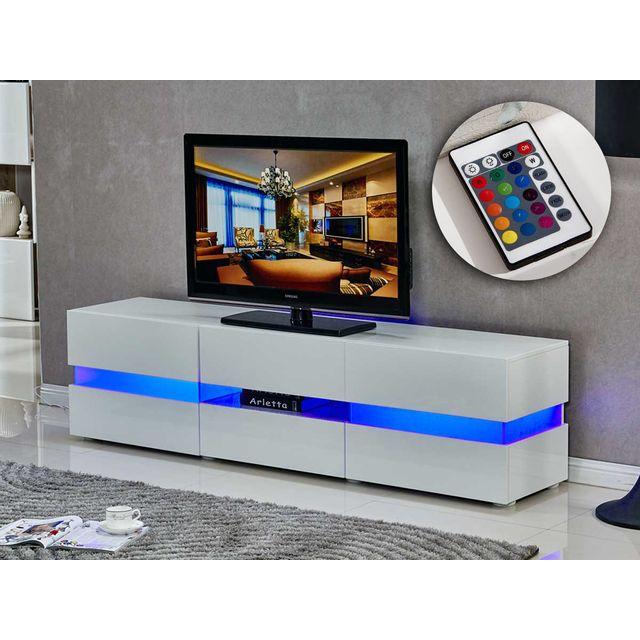 HABITAT ET JARDIN Meuble TV LED Vida' - 177 x 39 x 45 cm - Blanc laqué