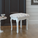 vidaxl tabouret pouf pour coiffeuse en bois blanc pas cher achat vente banc de jardin. Black Bedroom Furniture Sets. Home Design Ideas