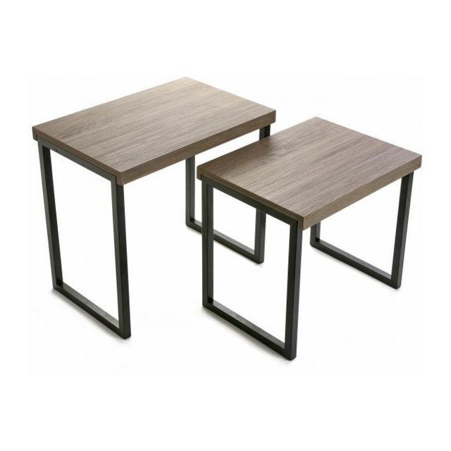 Versa Set de 2 tables basses coloris chêne Dina