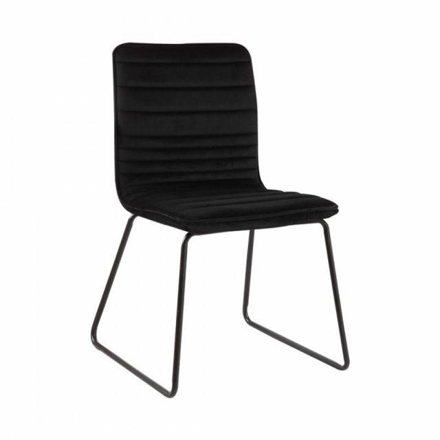 Zoli99 Uzto Chaise en velours Noir et Pieds métallique