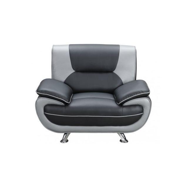 Fauteuil en simili NIGEL - Bicolore noir et gris