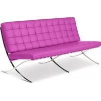 Privatefloor - Canapé design Barcelona - Inspiration Mies Van Der Rohe - 3 places - Simili Cuir Fuchsia