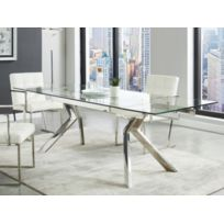 Table A Manger Extensible Velika Verre Trempe Metal 6 A 8 Couverts