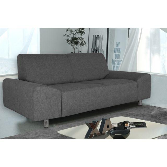 Rocambolesk Canapé Quick 2 savana 05 anthracite+pieds chrom sofa divan