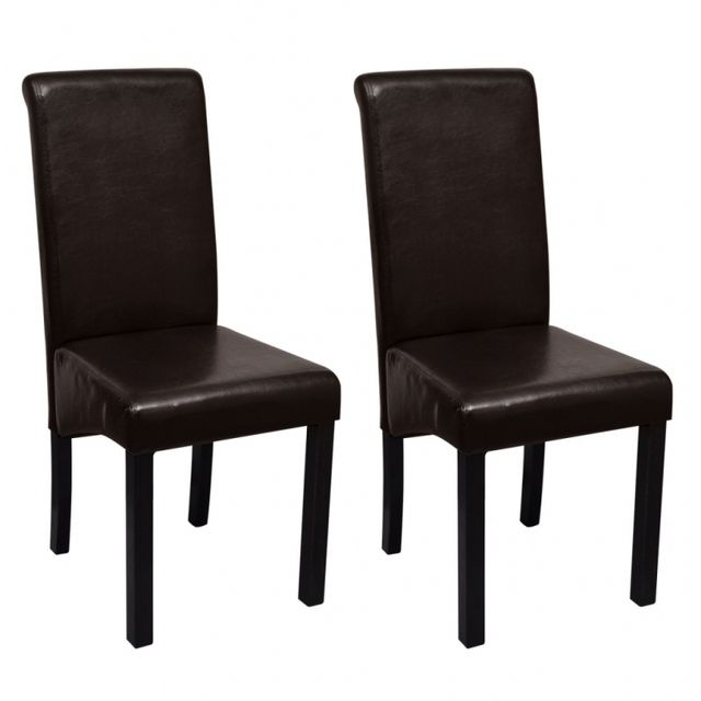 Casasmart Lot de 2 chaises en simili cuir marron