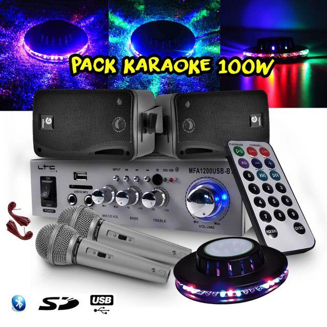 Ltc Audio Karaoke Ampli 100W Usb/BT/SD + 2 Enceintes Hifi 80W + 2 Micros + Jeu de lumière Ovni