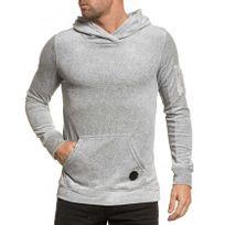 Project X - Sweat homme gris en velour à capuche