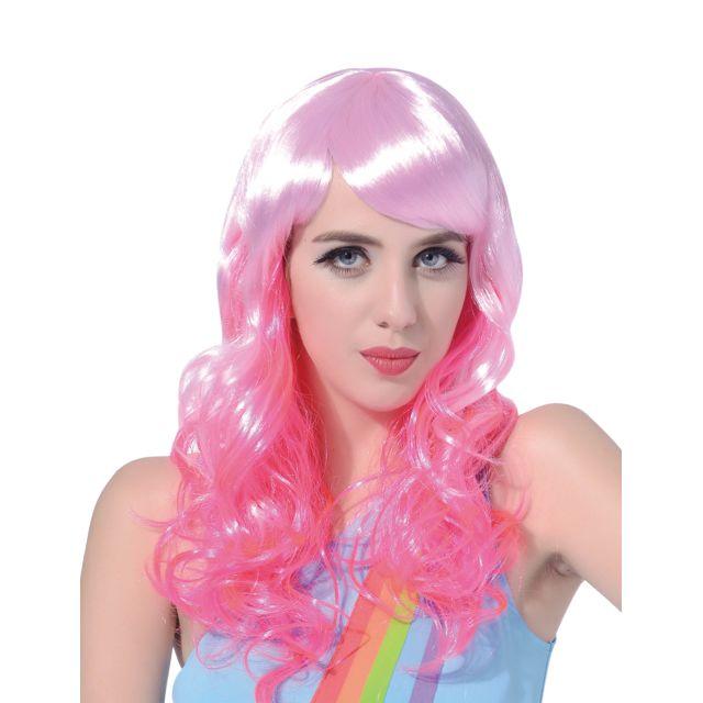 Sans - Perruque glamour avec frange rose
