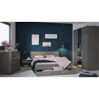 Chambre à coucher adulte en panneaux de particules, coloris chêne hudson