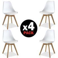 Comfort - Home Innovation - Lot de 4 Chaises Eyra blanches et bois, design scandinave, Dimensions: Hauteur totale environ 83 cm, dossier hauteur environ 40cm, siège environ 48x42cm