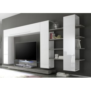 Envie de meubles ensemble meuble tv mural blanc laqu for Meuble mural laque brillant design