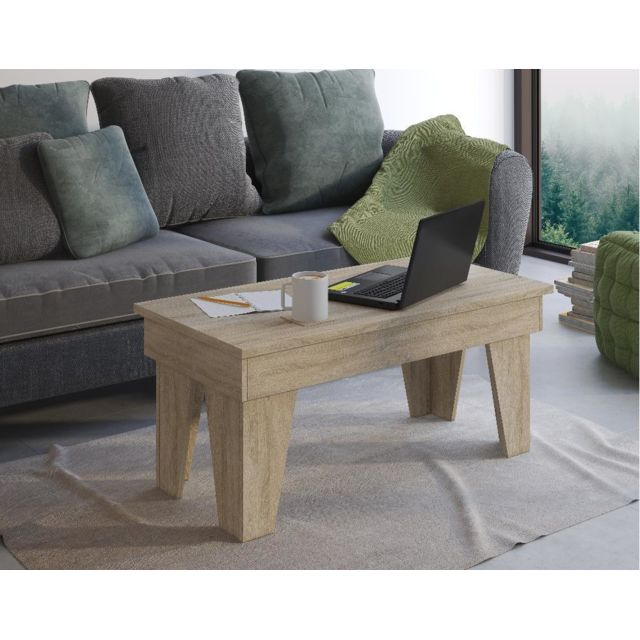 Comfort Table basse relevable, Kl,Chêne clair