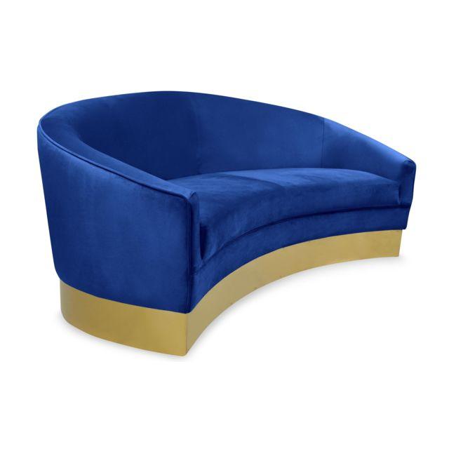 COTE COSY Canapé 3 places Curva Velours Bleu Pieds Or