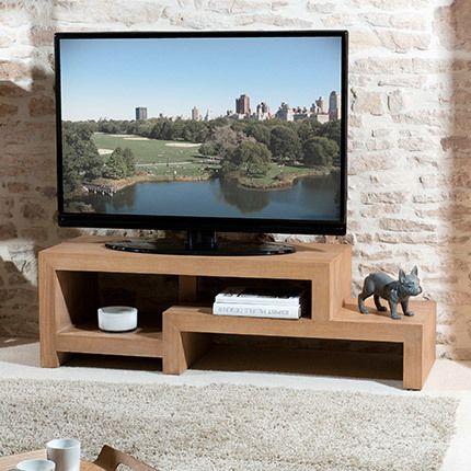 Meuble Tv en décalé Hambourg bois naturel Sebpeche31 # Meuble Tv Bois Naturel