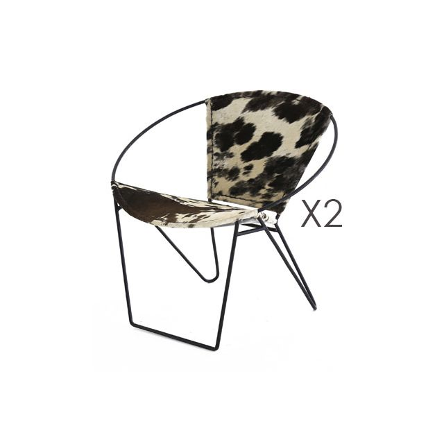 Lot de 2 fauteuils revêtement peau de vache - Retro